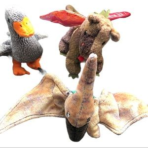 """Lot 3 TY  plush Dragon,Pterodactyl and duck 6"""""""